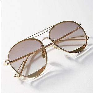 NWT ANTHROPOLOGIE Stay Golden Aviator Sunglasses